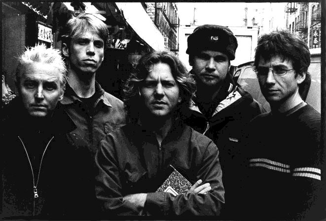 Pearl Jam Group Shoot Black White Old