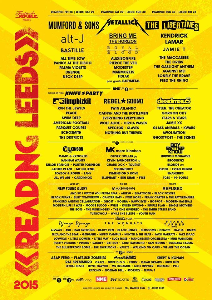 Reading Leeds Festival 2015 poster april