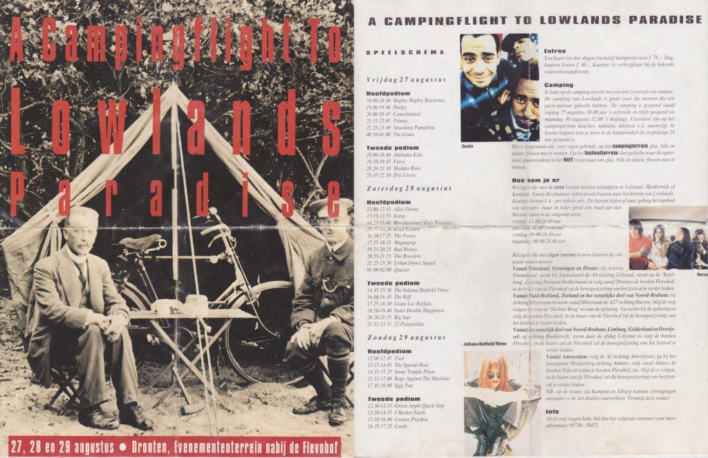 Lowlands 1993 programmaboekje