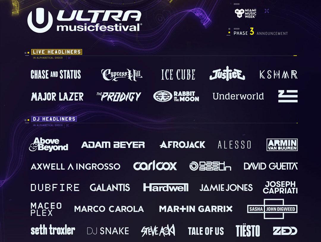 ultra music festival line-up