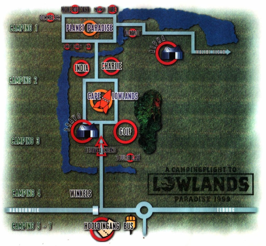 Plattegrond Lowlands 1999